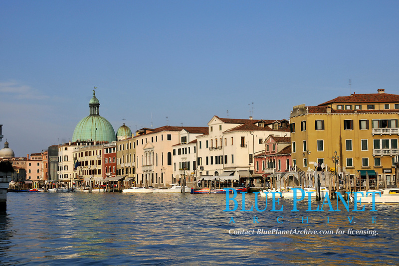 Historical buildings built along the waterfront of Grand Canal, Venice, World Heritage Site, Veneto, Italy