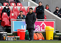 1st May 2021; Brentford Community Stadium, London, England; English Football League Championship Football, Brentford FC versus Watford; Watford Manager Xisco Munoz looks on from the touchline