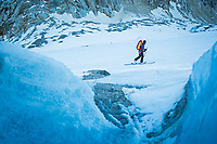 Steve Wakeford skins up the Mer de Glace and Glacier Leschaux towards the Pettit Jorasses North Face, an alpine face which nearly killed him in October 2014. Magnetic Mountains is an independent documentary that follows the story of an everyman who, after falling from an Alpine north face, is struggling to find a balance. Featuring some of the biggest names in mountain sports, it will explore the psychology of risk taking in the mountains, asking – is it really worth it?