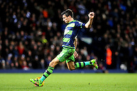 Jack Cork of Swansea City shoots at goal during the Barclays Premier League match between West Bromwich Albion and Swansea City at The Hawthorns on the 2nd of February 2016