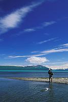 Naknek Lake, salmon fishing, Katmai National Park, Alaska.