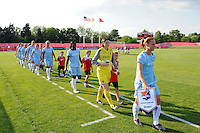 Sky Blue FC players enter the field. Sky Blue FC defeated the Boston Breakers 2-1 during a Women's Professional Soccer match at Yurcak Field in Piscataway, NJ, on May 31, 2009.