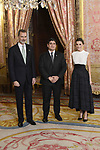 King Felipe VI of Spain (L) and Queen Letizia of Spain (R) receive Prime Minister of Costa Rica Carlos Alvarado (C) because of the United Nations conference for the Climate Summit 2019 (COP25) at the Royal Palace. December 2,2019. (ALTERPHOTOS/Pool/Carlos Alvarez)