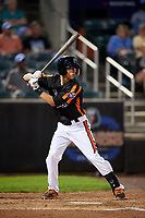 Aberdeen IronBirds right fielder Dalton Hoiles (23) at bat during a game against the Staten Island Yankees on August 23, 2018 at Leidos Field at Ripken Stadium in Aberdeen, Maryland.  Aberdeen defeated Staten Island 6-2.  (Mike Janes/Four Seam Images)