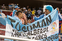 Santa Clara, CA - Monday June 6, 2016: Two Argentina fans celebrate their team's victory. Argentina played Chile in the group D match of the Copa América Centenario game at Levi's Stadium.