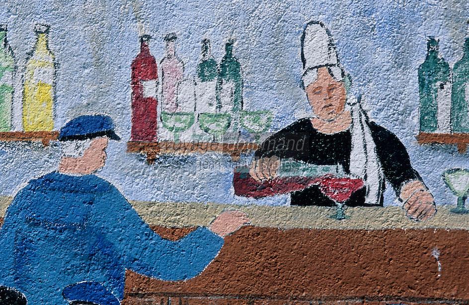 Europe/France/Bretagne/29/Finistère/Saint-Pierre-Penmarc'h: Mur Peint représentant des scènes de la vie bigoudenne