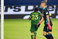 CARSON, CA - OCTOBER 07: Yimmi Chara #23 of the Portland Timbers celebrates a Timbers goal during a game between Portland Timbers and Los Angeles Galaxy at Dignity Heath Sports Park on October 07, 2020 in Carson, California.