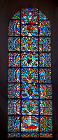 Medieval stained glass Window of the Gothic Cathedral of Chartres, France - dedicated to The Tree of Jesse (12th century). A UNESCO World Heritage Site.