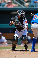 Jacksonville Jumbo Shrimp catcher Rodrigo Vigil (1) during a Southern League game against the Tennessee Smokies on April 29, 2019 at Baseball Grounds of Jacksonville in Jacksonville, Florida.  Tennessee defeated Jacksonville 4-1.  (Mike Janes/Four Seam Images)