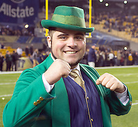 Notre Dame mascot Johnny Romano.The Pittsburgh Panthers defeated the Notre Dame Fighting Irish 28-21 at Heinz Field, Pittsburgh, Pennsylvania on November 9, 2013.