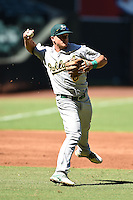 Oakland Athletics third baseman Matt Chapman (6) during practice before an Instructional League game against the Arizona Diamondbacks on October 10, 2014 at Chase Field in Phoenix, Arizona.  (Mike Janes/Four Seam Images)