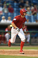 Clearwater Threshers shortstop Devin Lohman (8) runs to first during a game against the Tampa Yankees on April 21, 2015 at Bright House Field in Clearwater, Florida.  Clearwater defeated Tampa 3-0.  (Mike Janes/Four Seam Images)