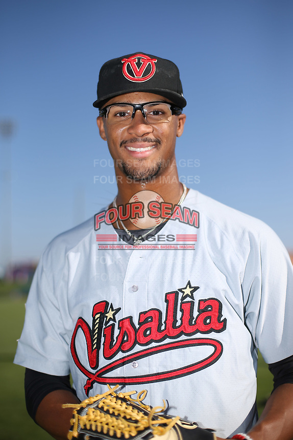 Jon Duplantier (29) of the Visalia Rawhide poses for a photo before a game against the Lancaster JetHawks at The Hanger on August 9, 2017 in Lancaster, California. Lancaster defeated Visalia, 7-4. (Larry Goren/Four Seam Images)