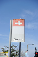24th April 2021; The Valley, London, England; English Football League One Football, Charlton Athletic versus Peterborough United; A British Rail sign for Charlton station outside the stadium