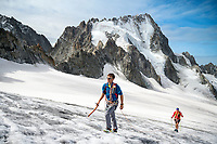 The Chamonix to Zermatt Glacier Haute Route. In late August 2017, we ran the tour in mountain running gear, running shoes, and all the necessary glacier travel and crevasse rescue gear. Hiking up the Glacier du Tour on day 1.