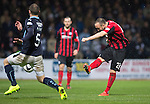 Dundee v St Johnstone....08.11.14   SPFL<br /> Lee Croft fires in a shot at goal only to see his effort well saved by Scott Bain<br /> Picture by Graeme Hart.<br /> Copyright Perthshire Picture Agency<br /> Tel: 01738 623350  Mobile: 07990 594431