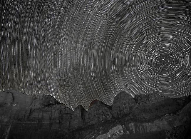 A long exposure produces star trails at Zion National Park, Utah