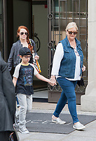 August 1st 2017 - Paris, France - Singer Celine Dion, her twins Nelson and Eddy, and her dancer Pepe Munoz leave the Royal Monceau on Avenue Hoche.