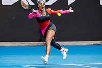 8th February 2021, Melbourne, Victoria, Australia;  Serena Williams of the United States of America returns the ball during round 1 of the 2021 Australian Open on February 8 2020