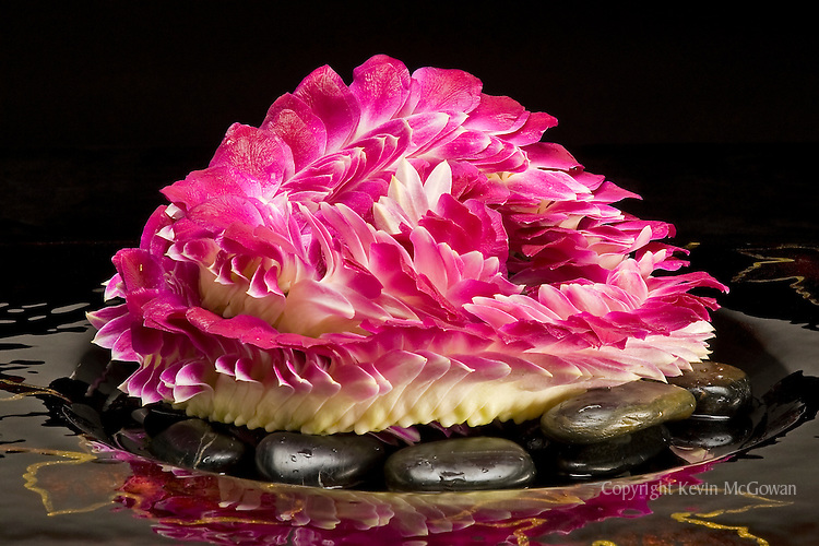 Fresh flower lei of pink orchid petals