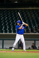 AZL Cubs left fielder Kwang-Min Kwon (27) bats during a game against the AZL Brewers on August 6, 2017 at Sloan Park in Mesa, Arizona. AZL Cubs defeated the AZL Brewers 8-7. (Zachary Lucy/Four Seam Images)