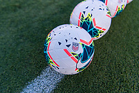 PASADENA, CA - AUGUST 4: Nike soccer balls sit on the sideline during a game between Ireland and USWNT at Rose Bowl on August 3, 2019 in Pasadena, California.