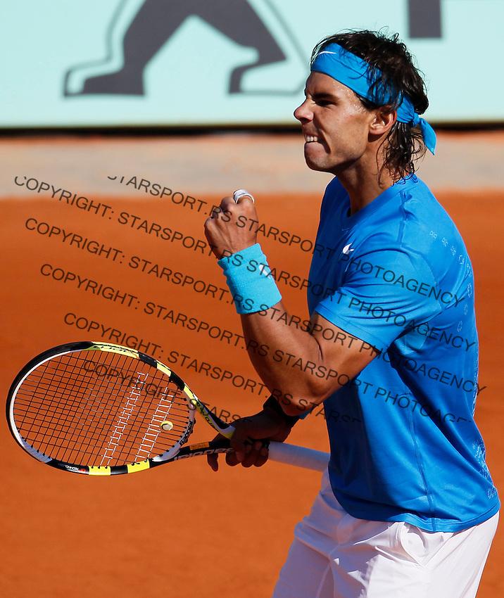 Tenis, Roland Garros 2011.Rafael Nadal (ESP) Vs. Robert Soderling (SWE).Rafael Nadal, react.Paris, 01.06.2011..foto: Srdjan Stevanovic/Starsportphoto ©