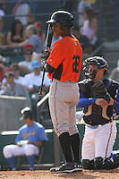 L.J. Hoes #28 of the Frederick Keys at bat during a game against the Myrtle Beach Pelicans on May 2, 2010 in Myrtle Beach, SC.