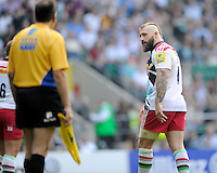 Joe Marler of Harlequins looks at an assistant referee after being given a yellow card during the Premiership Rugby Round 1 match between London Irish and Harlequins at Twickenham Stadium on Saturday 6th September 2014 (Photo by Rob Munro)