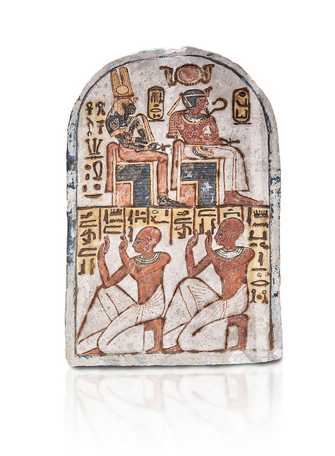 """Ancient Egyptian Stele of Amenemope dedicated to Amenhotep I and Ahmose-Nefertari, limestone, New Kingdom, 19th Dynasty, (1279-1213 BC), Deir el-Medina, Drovetti cat 1454. Egyptian Museum, Turin. white background<br /> <br /> The stele is dedicated to Amenhotep I and Ahmose-Nefertari by the 'Servant in the Place of Truth' Amenemope and Amennakht. The king and the queen are shown sitting on their thrones. Above the sovereign there is a solar disc flanked by two sacred cobras and their cartouches are shown to the right of each of them. In the bottom register Amenemope is shown with his son  Amennakht, who also was a """"Servant in the Place of Truth"""", in the pose of adoration."""