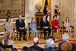 (L-R) Queen Sofia, King Juan Carlos, Princess Leonor of Spain, King Felipe VI of Spain, Queen Letizia of Spain and Princess Sofia of Spain attend the Order of Golden Fleece (Toison de Oro), ceremony at the Royal Palace. January 30,2018. (ALTERPHOTOS/Pool)