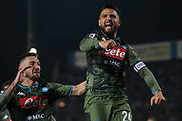 Fußball, Brescia Calcio - SSC Nepael Lorenzo Insigne of Napoli celebrates after scoring from the penalty spot to level the game at 1-1 during the Serie A match at Stadio Mario Rigamonti, Brescia. Picture date: 21st February 2020. Picture credit should read: Jonathan Moscrop/Sportimage PUBLICATIONxNOTxINxUK SPI-0500-0011<br /> Brescia - Napoli<br /> Photo Jonathan Moscrop / Sportimage / Imago / Insidefoto