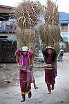 Myanmar, (Burma), Shan State, Kengtung: Palaung tribe women with metal band around waist carrying dried grass through village | Myanmar (Birma), Shan Staat, Kengtung: Frauen des Palaung Volksstammes mit einem metallenen Band um die Taille, sie tragen riesige, getrocknete Grasbueschel mit Hilfe eines Kopfbandes