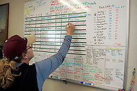 Sunday March 11, 2007   ----    Logistics coordinator for Unalakleet, Petie Peterson writes a pilot load on the board at Unalakleet.  Keeping track of people, gear and dropped dogs to get them moved up and down the trail is a monumental task during Iditarod.