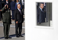 Pictured: Turkey president Recep Tayyip Erdogan (R), observes a minute's silence at the Unknown Soldier Monument outside the Greek Parliament in Syntagma Square.<br /> Re: Turkey's president Recep Tayyip Erdogan has begun a landmark visit to Greece. Thursday 07 December 2017
