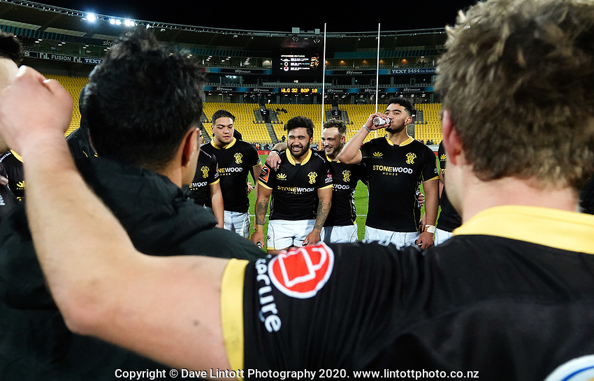 The Lions celebrate winning the Mitre 10 Cup rugby match between Wellington Lions and  Bay Of Plenty Steamers at Sky Stadium in Wellington, New Zealand on Friday, 25 September 2020. Photo: Dave Lintott / lintottphoto.co.nz