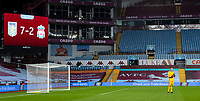 4th October 2020, Villa Park, Birmingham, England;  Liverpools goalkeeper Adrian looks dejected as the scoreboard is displayed after the English Premier League match between Aston Villa and Liverpool at Villa Park