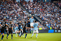 Kansas City, KS - Wednesday August 9, 2017: Andres Imperiale, Diego Rubio during a Lamar Hunt U.S. Open Cup Semifinal match between Sporting Kansas City and the San Jose Earthquakes at Children's Mercy Park.