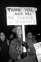 Thank You Anita - Protest during the confirmation vote to appoint Clarence Thomas to the US Supreme Court at the JFK Federal Building in Boston, MA October 15, 1991