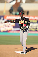 Juan Ciriaco #6 of the Modesto Nuts during a game against the High Desert Mavericks at Heritage Field on June 29, 2014 in Adelanto, California. High Desert defeated Modesto, 6-1. (Larry Goren/Four Seam Images)