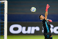 CARSON, CA - OCTOBER 07: David Bingham #1 GK of the Los Angeles Galaxy reaches for a ball during a game between Portland Timbers and Los Angeles Galaxy at Dignity Heath Sports Park on October 07, 2020 in Carson, California.