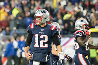FOXBORO, MA - OCTOBER 10: New England Patriots Quarterback Tom Brady (12) during a game between New York Giants and New England Patriots at Gillettes on October 10, 2019 in Foxboro, Massachusetts.