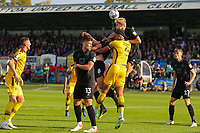 9th October 2021;  VBS Community Stadium, Sutton, London; EFL League 2 football, Sutton United versus Port Vale; Nathan Smith (6) of Port Vale wins the defensive header.