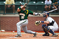 Baylor Bears catcher Josh Ludy #30 follows through on his swing during the NCAA Regional baseball game against Oral Roberts University on June 3, 2012 at Baylor Ball Park in Waco, Texas. Baylor defeated Oral Roberts 5-2. (Andrew Woolley/Four Seam Images)