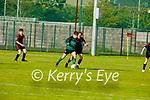 Samphires Donagh Murphy been well marked by Park FC's   Ewan O'Sullivan in the U16 Soccer league