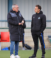 Head Coach Leo Van Der Elst of Club Brugge and Assistant Coach Sasha Santens of Club Brugge in conversation before a female soccer game between Oud Heverlee Leuven and Club Brugge YLA on the 18 th and last matchday before the play offs of the 2020 - 2021 season of Belgian Womens Super League , saturday 27 th of March 2021  in Heverlee , Belgium . PHOTO SPORTPIX.BE | SPP | SEVIL OKTEM