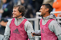 SAN JOSE, CA - MARCH 7: Florian Jungwirth #23 and Chris Wondolowski #8 of the San Jose Earthquakes during a game between Minnesota United FC and San Jose Earthquakes at Earthquakes Stadium on March 7, 2020 in San Jose, California.