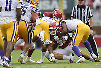Arkansas linebacker Grant Morgan (31) tackles an LSU receiver, Saturday, November 21, 2020 during the third quarter of a football game at Donald W. Reynolds Razorback Stadium in Fayetteville. Check out nwaonline.com/201122Daily/ for today's photo gallery. <br /> (NWA Democrat-Gazette/Charlie Kaijo)