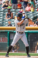 Reymond Fuentes (12) of the Omaha Storm Chasers at bat against the Salt Lake Bees in Pacific Coast League action at Smith's Ballpark on August 16, 2015 in Salt Lake City, Utah. Omaha defeated Salt Lake 11-4. (Stephen Smith/Four Seam Images)