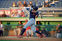 State College Spikes Donivan Williams (5) bats during a NY-Penn League game against the Batavia Muckdogs on August 24, 2019 at Dwyer Stadium in Batavia, New York.  State College defeated Batavia 1-0.  (Mike Janes/Four Seam Images)